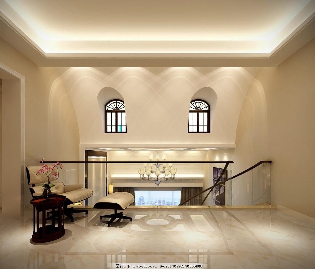 别墅楼梯间效果图 装饰 装修 家装 欧式风格