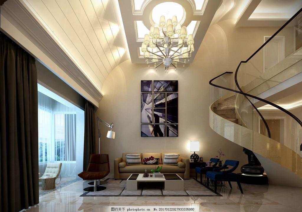 欧式风格别墅一层大厅效果图 室内设计 装饰 装修 家装 欧式风格
