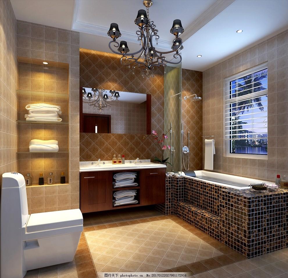 卫生间 厕所 装修 家居 家装 欧式风格 瓷砖 马桶 浴缸 洗脸池