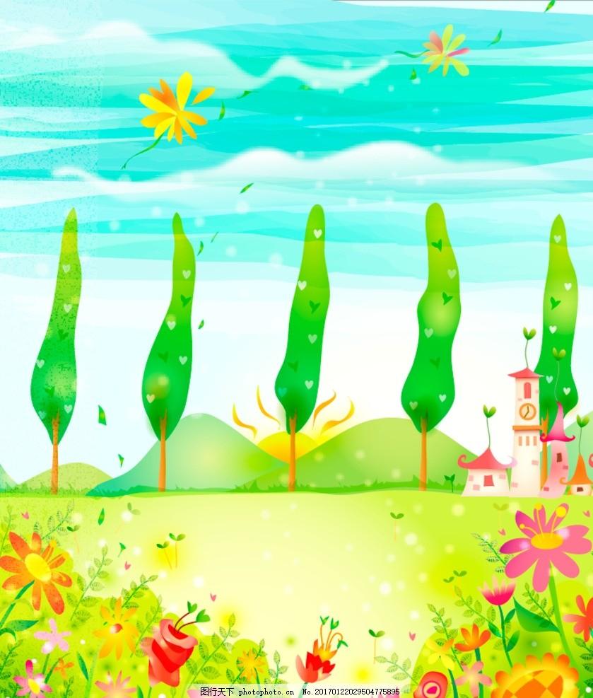 清新 春天风景插画 手绘插画 绿色背景 儿童背景 唯美背景 韩国背景