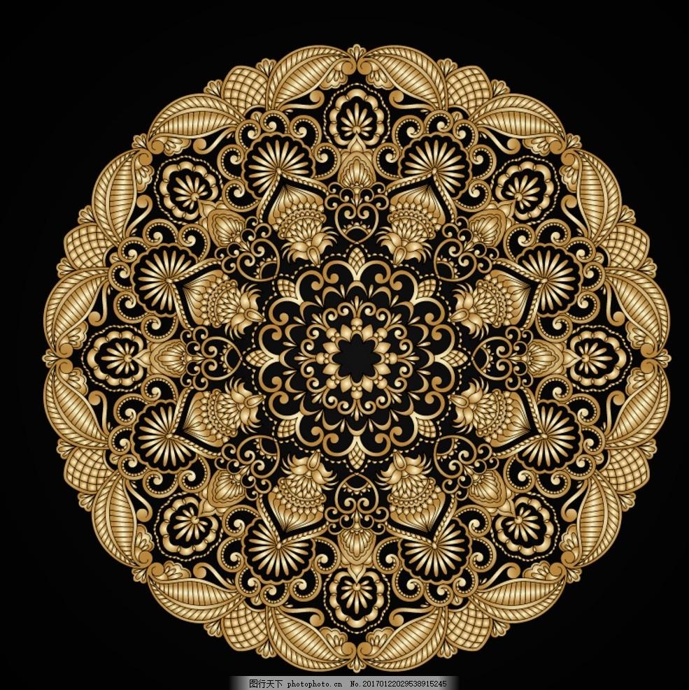 圆形金属花纹 金色圆形花纹 欧式圆形花纹 圆形花纹 金属花纹素材