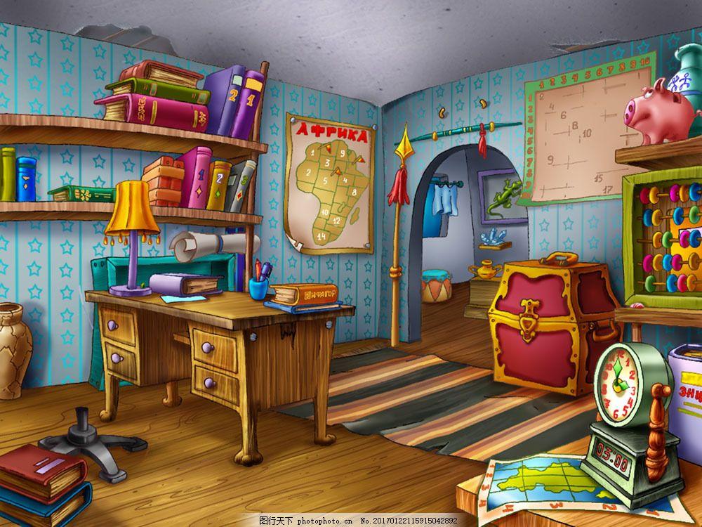 卡通书房室内图片