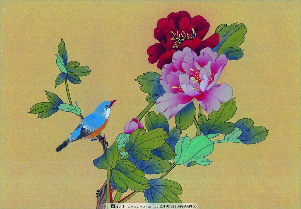 手绘牡丹花图片素材 国画 油画 装饰画 无框画 手绘 素描 插画 抽象