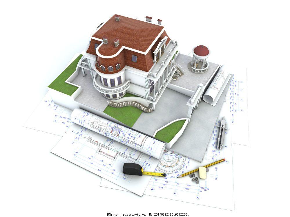 图纸与别墅模型 图纸与别墅模型图片素材 房屋模型 建筑模型 米尺