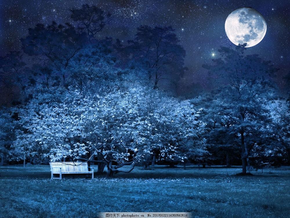 唯美夜晚图片素材 夜景 夜晚 月光 公园 唯美 月亮 长椅 山水风景