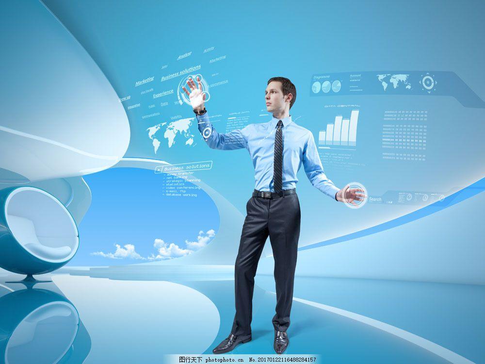 外国男人与科技背景图片素材 男人 外国男人 点击 触屏 科技背景 通讯