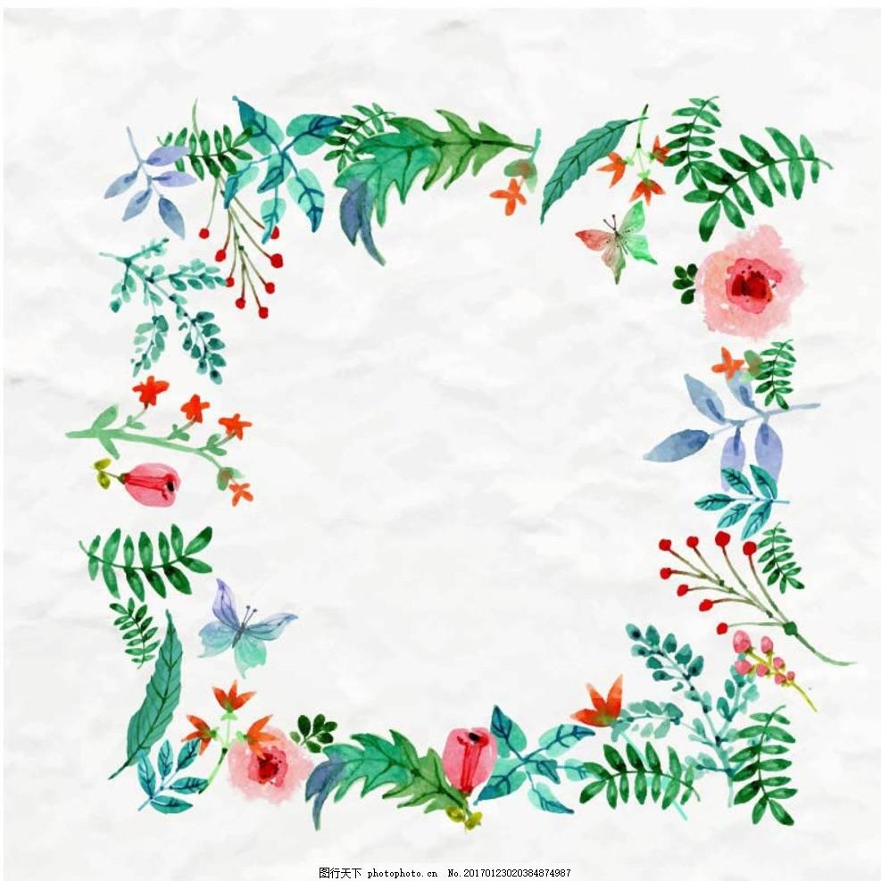 水彩花卉边框隽语矢量素材
