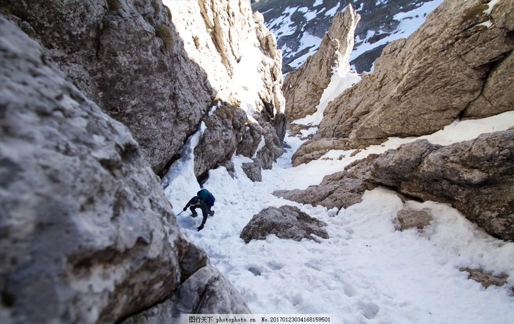 爬雪山 爱好者 大山 被雪覆盖 爬山 攀岩 攀登 风景 摄影