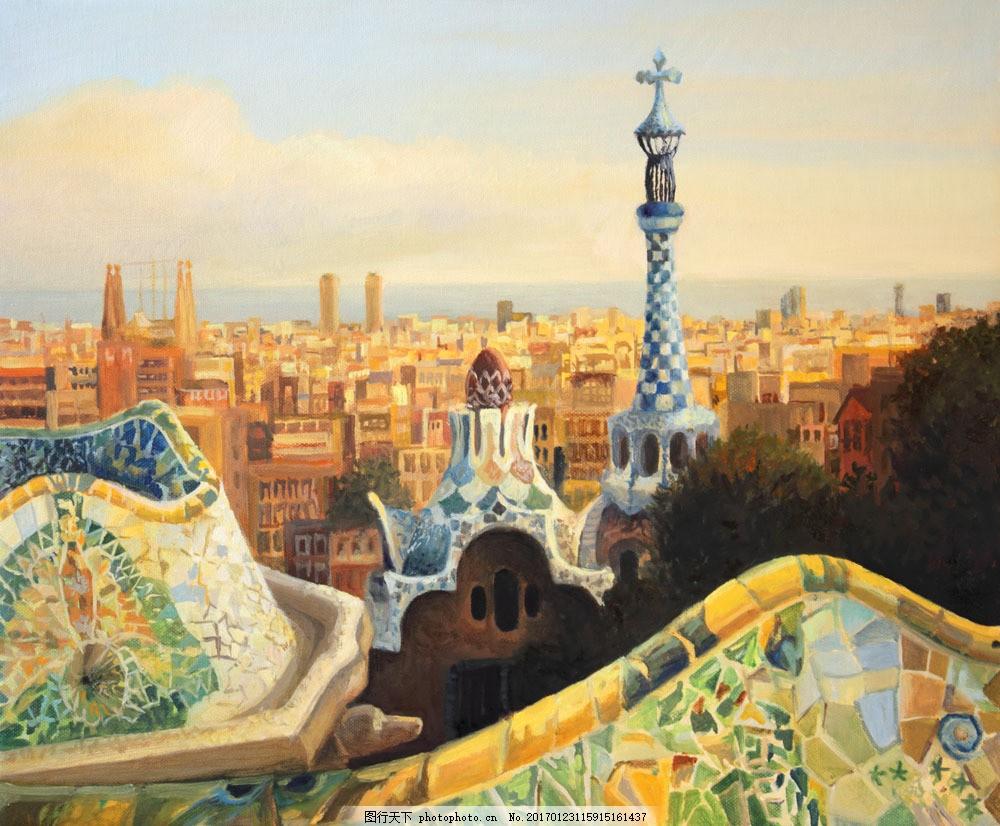 巴塞罗那风景油画图片