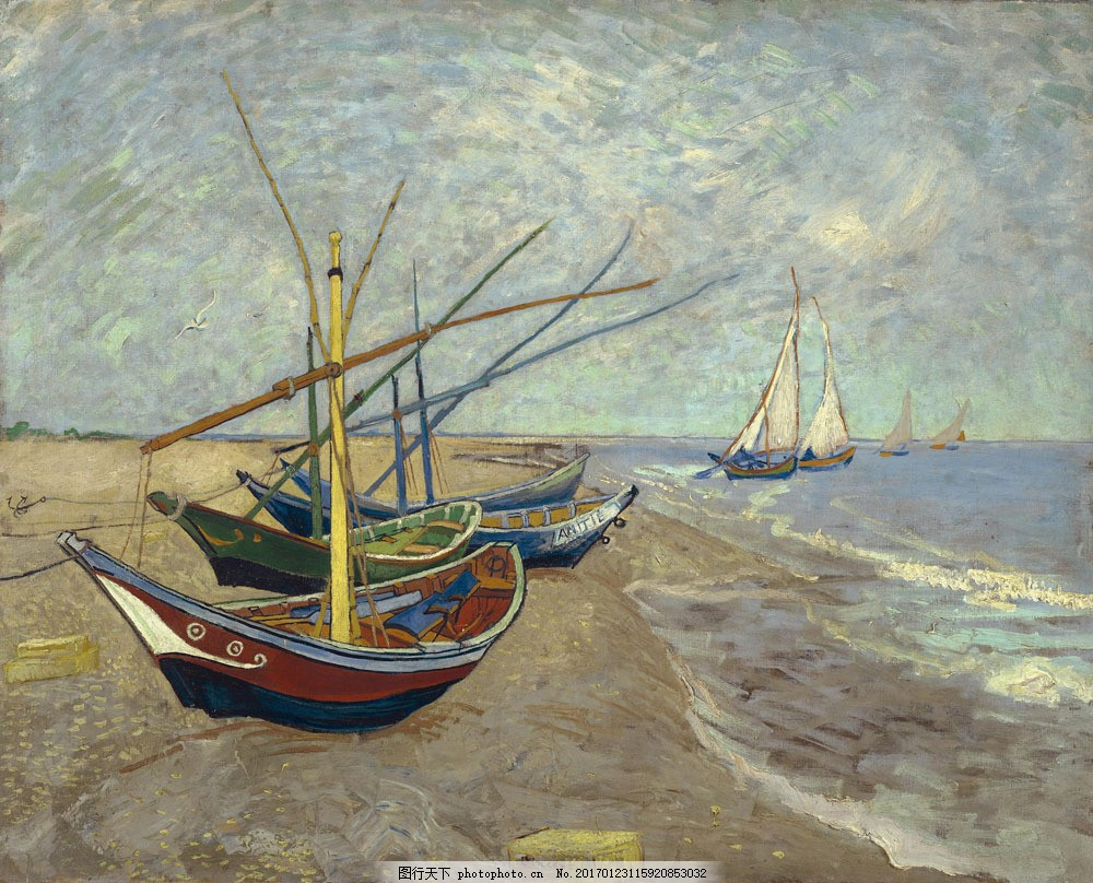 沙滩上的渔船风景油画图片
