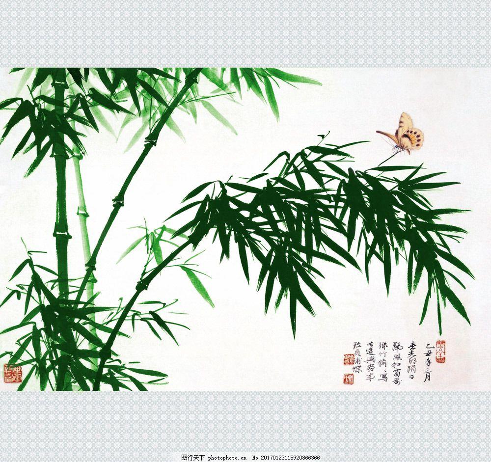 绿色竹子插画 绿色竹子插画图片素材 国画 油画 装饰画 手绘 彩绘