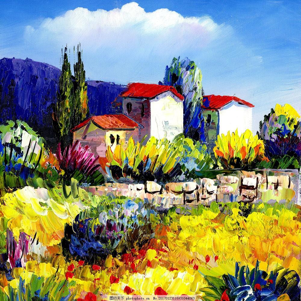 花园 花园图片素材 艺术 油画 风景画 色彩 明亮 鲜艳 书画文字