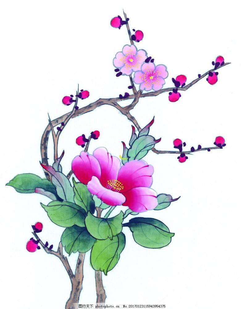 国画牡丹 梅花 花鸟画 水墨画 名画 国画 中国画 绘画艺术 装饰画 挂