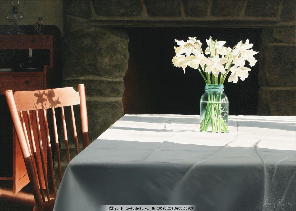 壁炉与餐桌花瓶静物油画图片