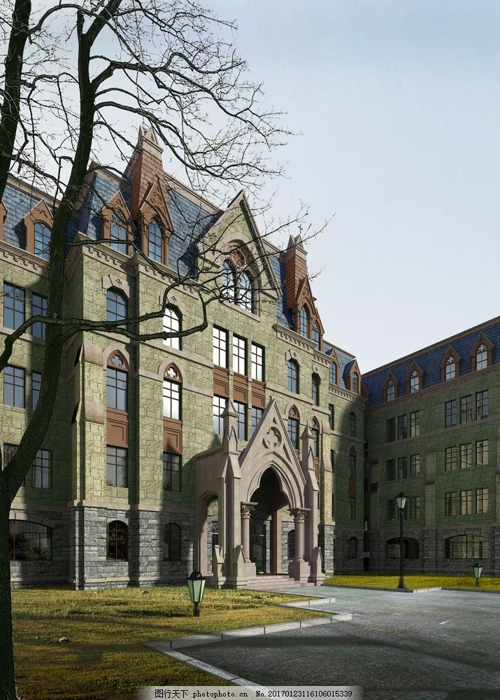 欧洲庄园大门建筑设计图片素材 欧式庄园建筑设计 透视图 建筑规划