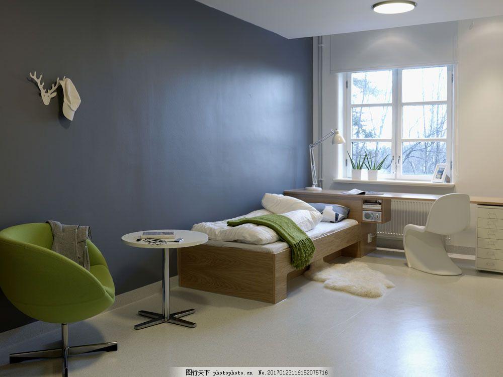 单身小公寓效果图      睡房 小床 床头柜 时尚家居 室内装修设计