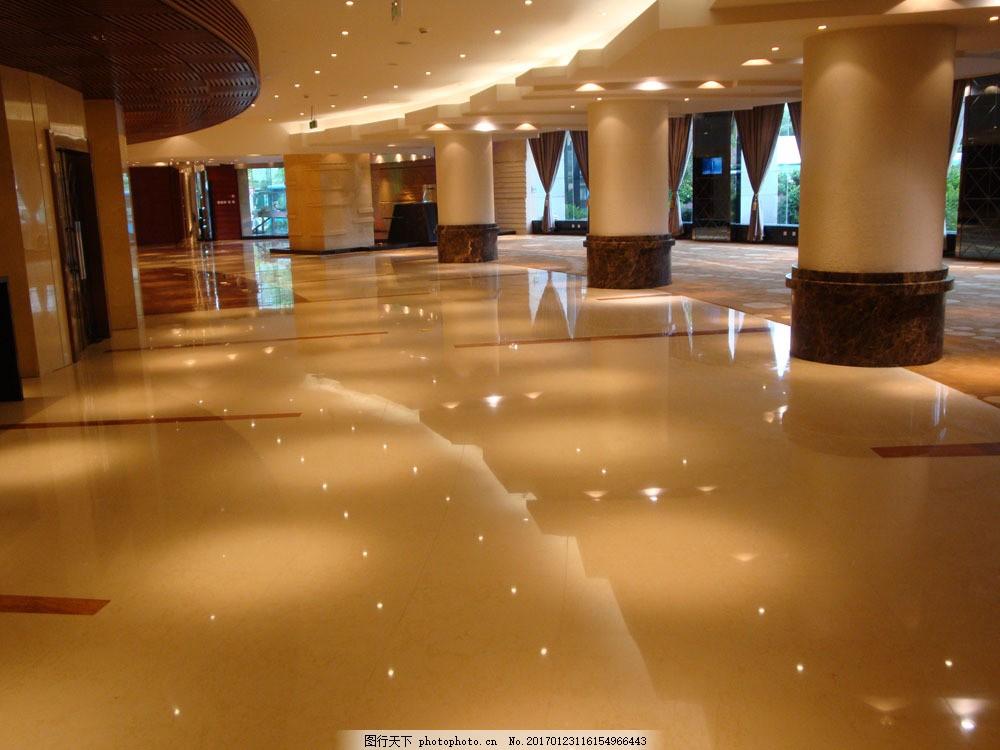 豪华酒店大厅设计 豪华酒店大厅设计图片素材 灯光 圆柱 室内装饰