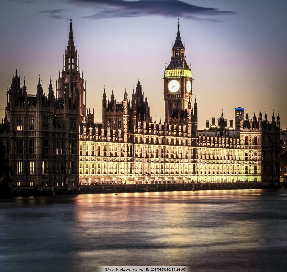 伦敦大本钟夜景 伦敦大本钟夜景图片素材 伦敦风景 城市风景 城市风光