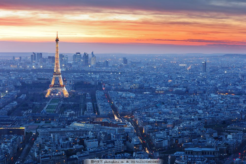 巴黎夜景风景图片素材 埃菲尔铁塔 法国旅游景点 城市夜景 巴黎风景