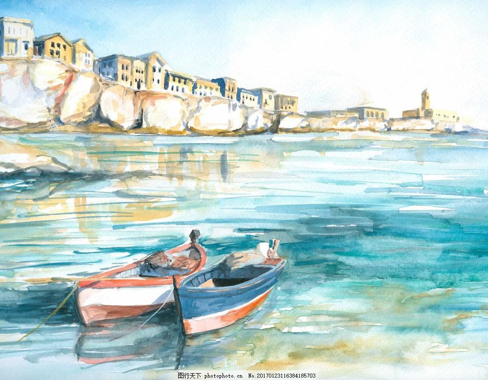 湖泊城市水彩画 湖泊城市水彩画图片素材 船只 建筑 海洋 水墨画