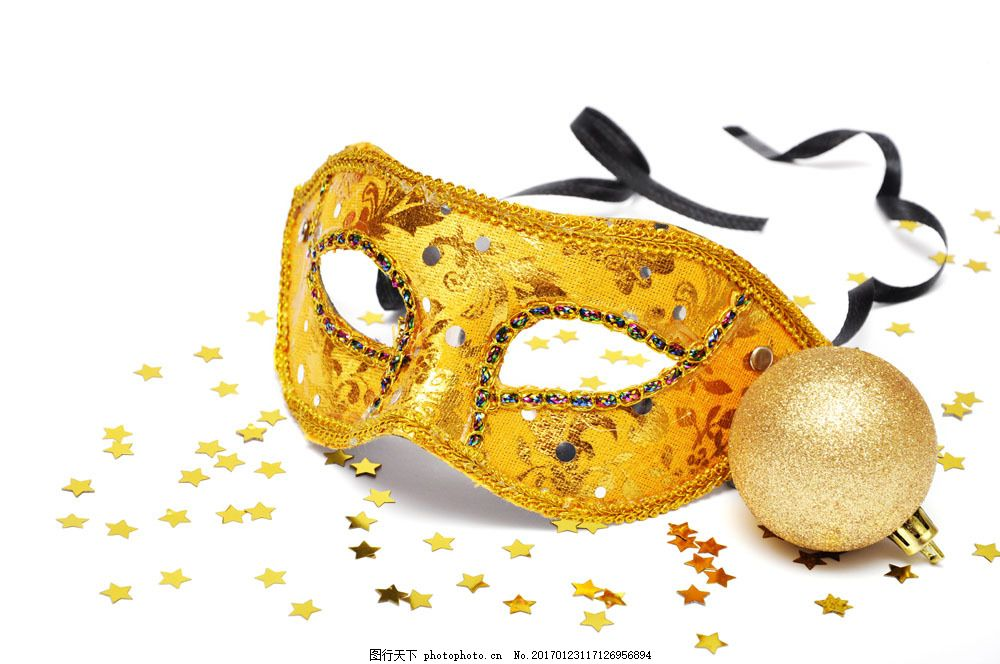 圣诞球与面具 圣诞球与面具图片素材 五角星 假面舞会 女性用品