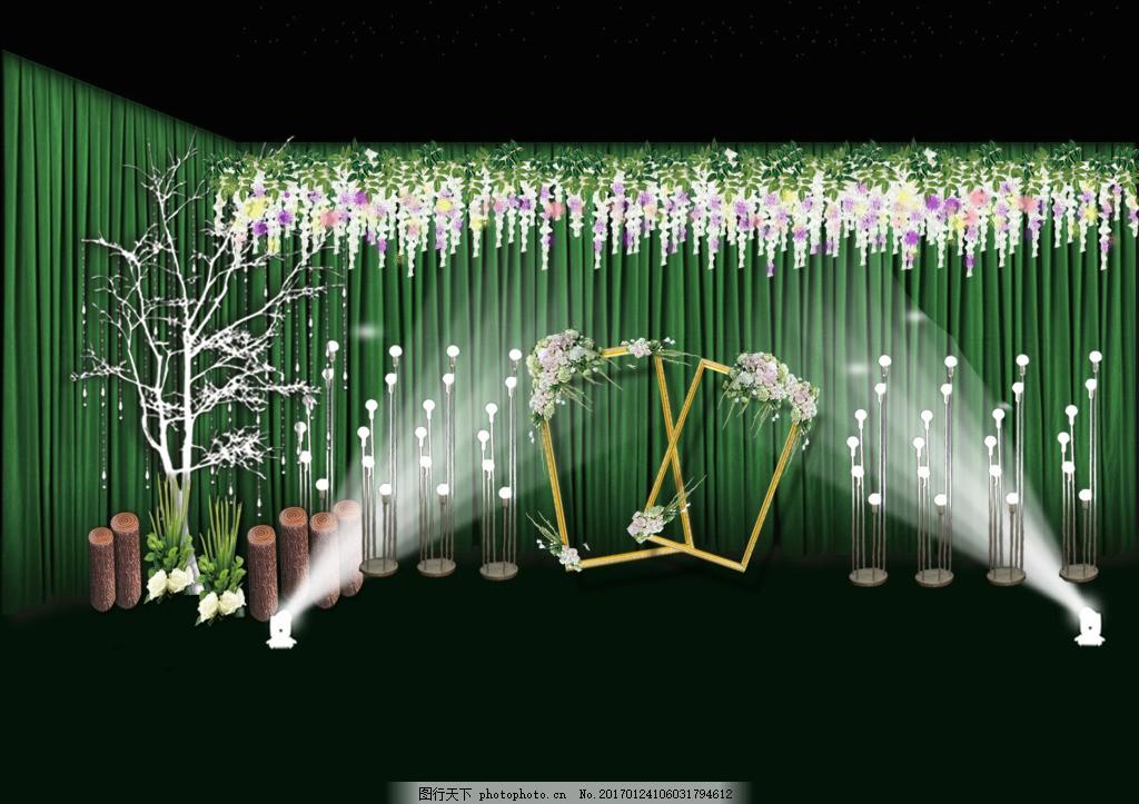 合影背景森林系主题婚礼迎宾区