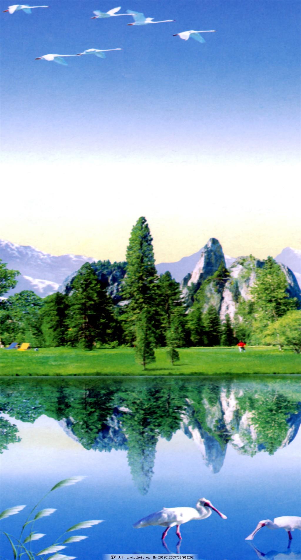 风景倒影装饰画 抽象油画 花卉装饰画 抽象画 绘画艺术 油画艺术 装饰