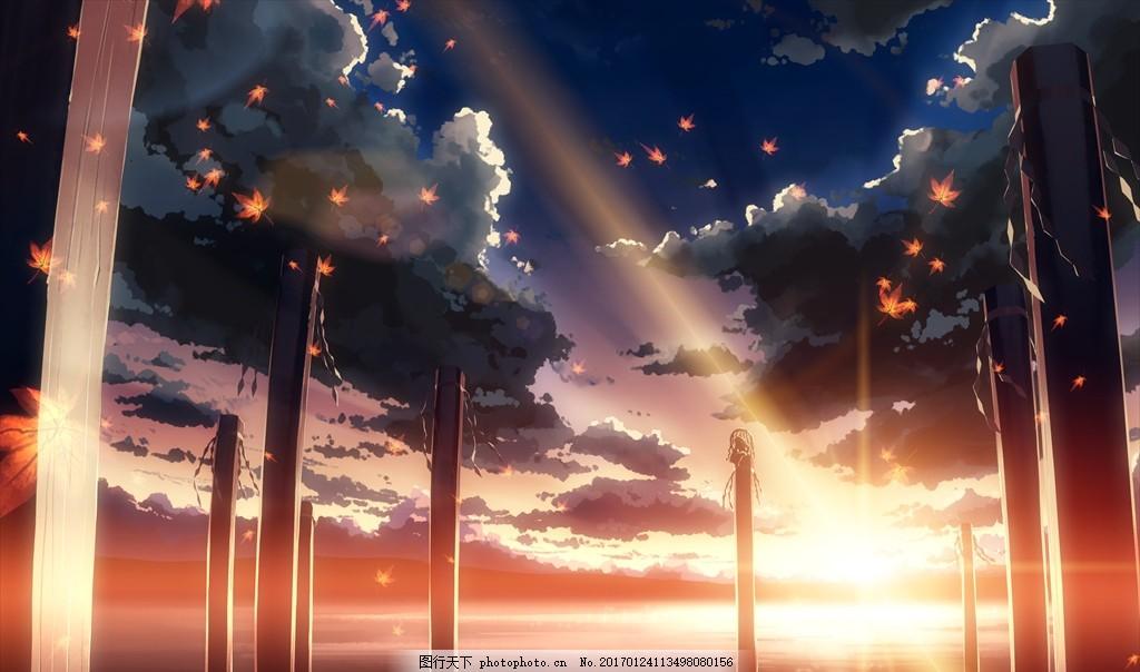 动漫场景图 动画 效果图 二次元 天空 云彩 青春 校园 爱情