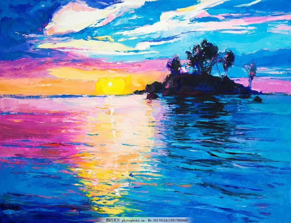 美丽的海面风景油画图片