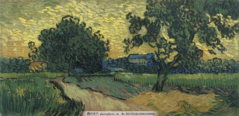 梵高风景油画写生图片