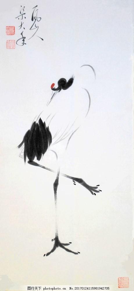 水墨仙鹤国画 水墨仙鹤国画图片素材 花鸟画 水墨画 名画 水墨花卉