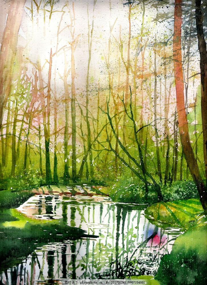 树林风景油画写生图片