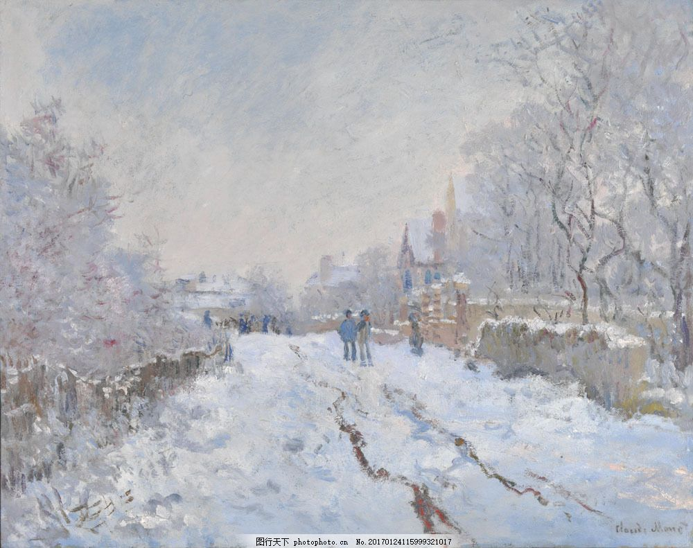 冬天雪景油画图片素材 冬天雪景油画 冬天雪地风景油画 油画写生 油画