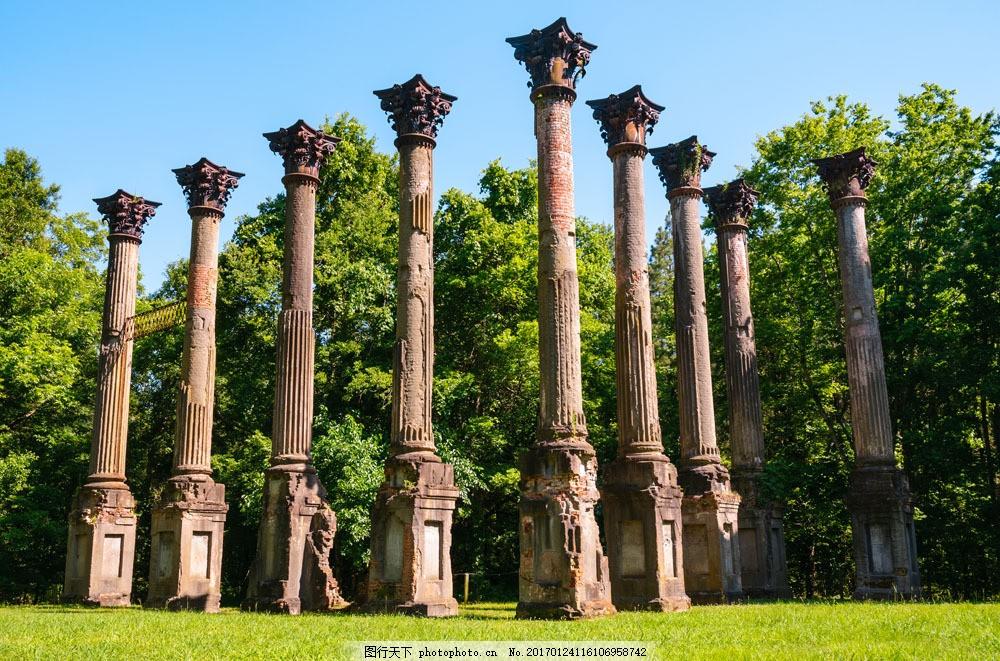 欧式罗马柱建筑图片