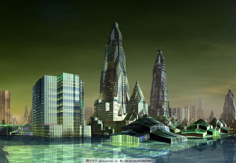 未来城市插画 未来城市插画图片素材 游戏动漫城市 未来建筑 高楼大厦