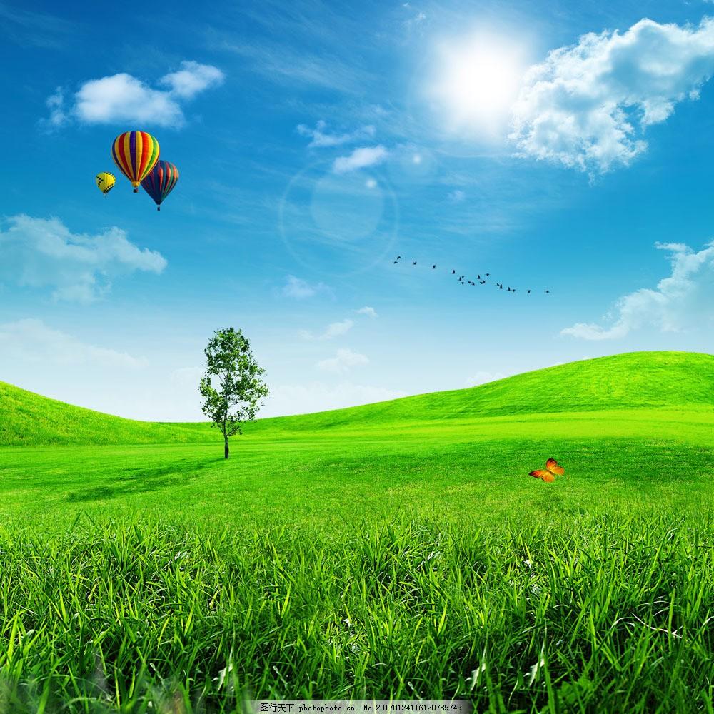 蓝天白云与草地图片素材 草原风景 草地 绿色环保 热气球 蓝天白云