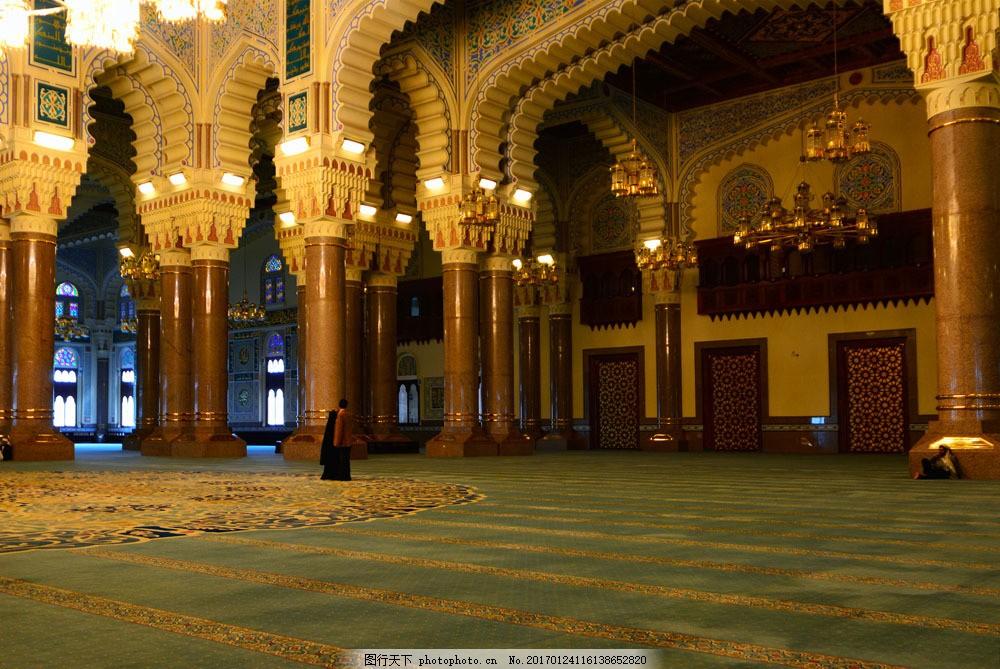 柱子 灯光 人物 清真寺 建筑 建筑摄影 国外建筑 室内设计 装修 装饰