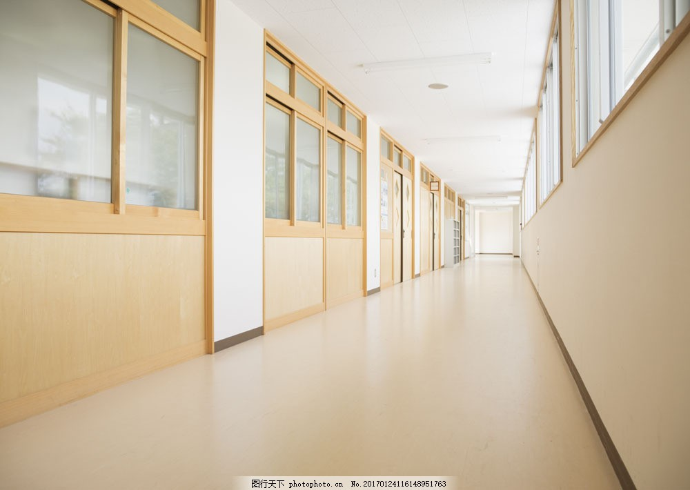 设计图库 高清素材 建筑  教室走廊摄影图片素材 教室走廊 过道 学校