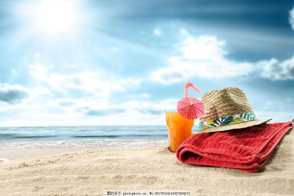 蓝天大海饮料图片素材 蓝天白云 帽子 毛巾 海洋生物 沙滩 海滩 沙子