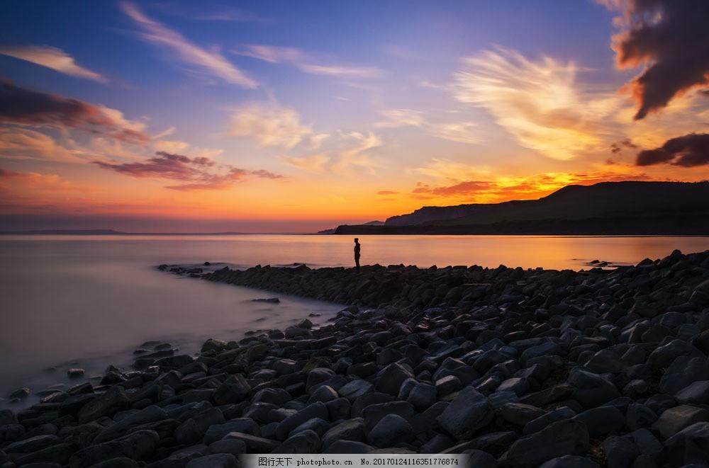 黄昏海岸风景 黄昏海岸风景图片素材 晚霞 大海 海洋风景 海平面
