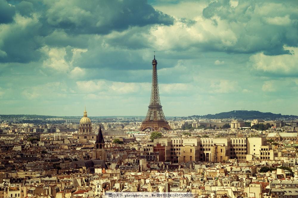 巴黎鸟瞰风光 巴黎鸟瞰风光图片素材 埃菲尔铁塔 建筑风景 巴黎风光