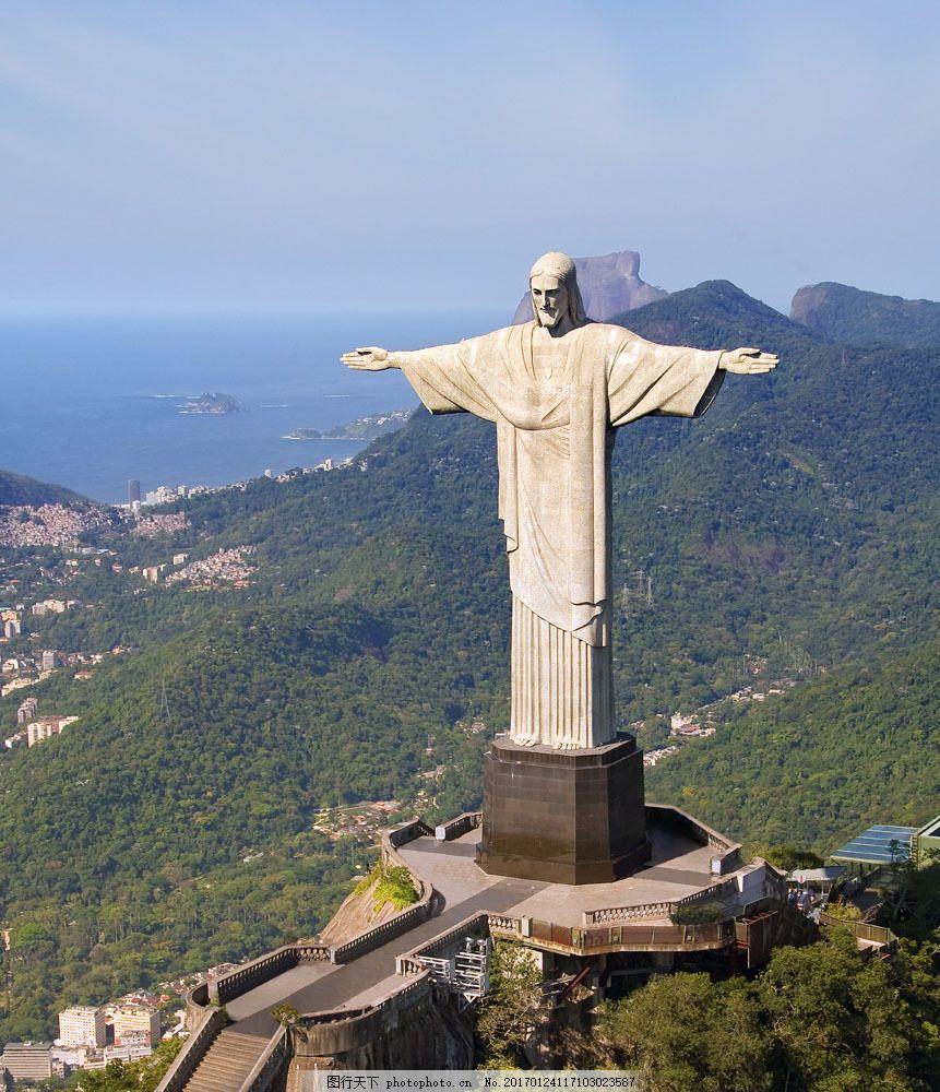 山上的神父雕像 山上的神父雕像图片素材 巴西 世界杯 足球 体育运动