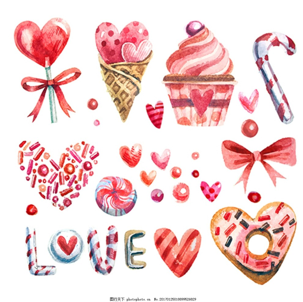 手绘水彩情人节糖果元素