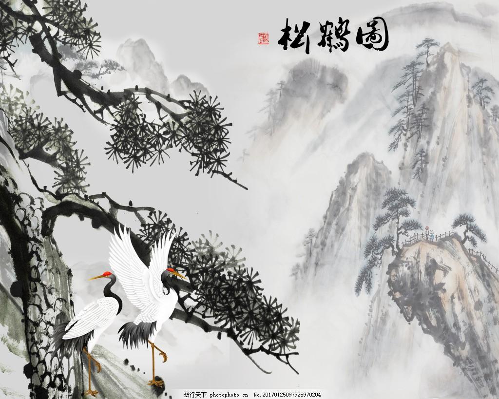 白鹤水墨画装饰背景墙