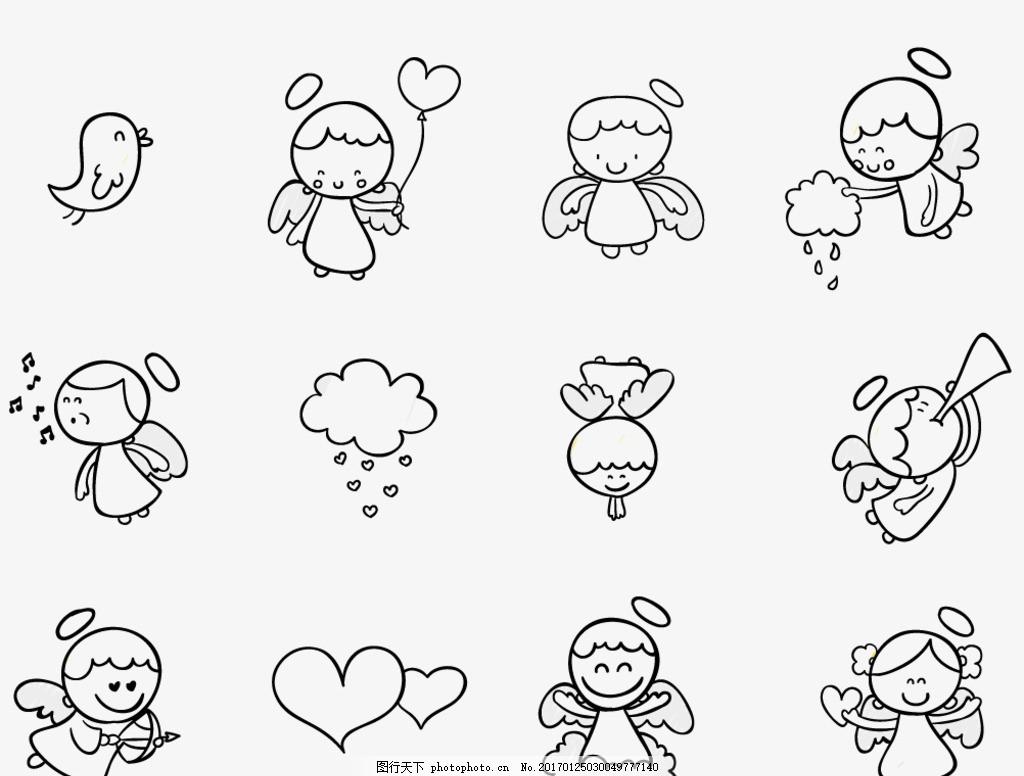 神 卡通人物 手绘人物 天使宝宝 可爱天使 可爱女孩 天使翅膀 插画
