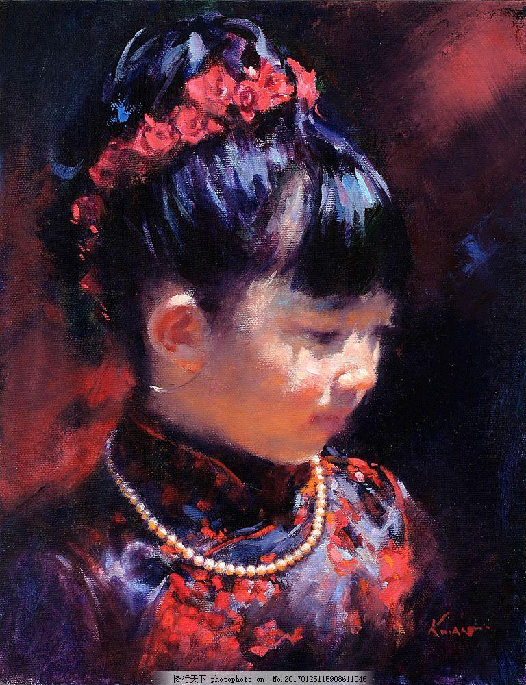 穿旗袍的女孩油画 穿旗袍的女孩油画图片素材 珍珠项链 绘画 艺术