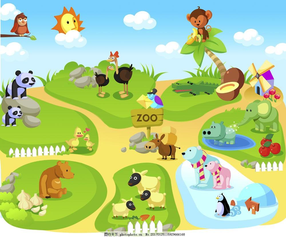 可爱卡通图画图片素材 插画 卡通 可爱 动物园 各种动物 熊猫 大象 羊