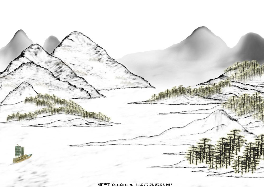 山峰湖泊风景图片素材 水墨画 名画 水墨花卉植物 国画 中国画 绘画