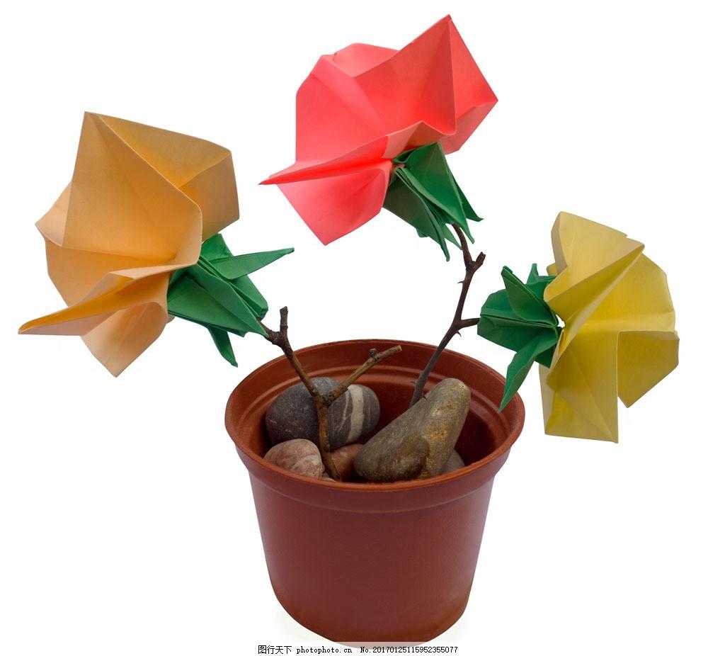 叠纸玫瑰花图片素材 折纸花朵 折纸鲜花 花盆 叠纸花朵 叠纸艺术 叠纸