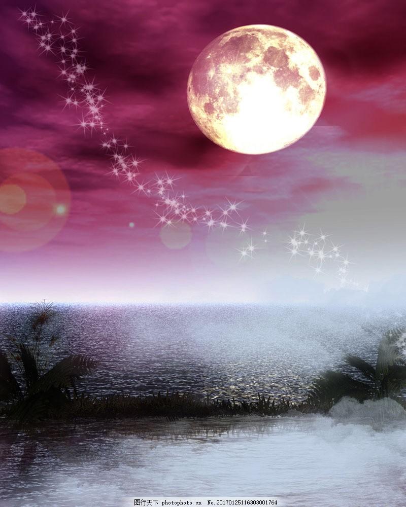 月色风景 月色风景图片素材 夜景 月色朦胧 唯美 湖边 倒影 月亮